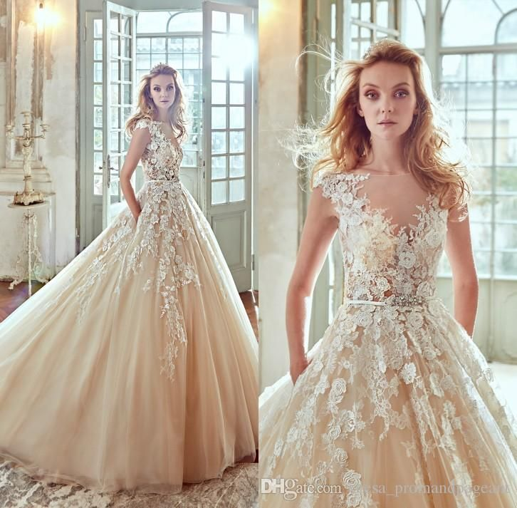 Nicole Spose 2017 Champagne 3d Floral Appliques Wedding Dresses A Line Sheer Neck Cap Sleeve Court Train Tulle Bridal Gowns With Pockets Brides Dresses Cheap Wedding Dresses Uk From Olesa_promandpageant, $148.35| Dhgate.Com