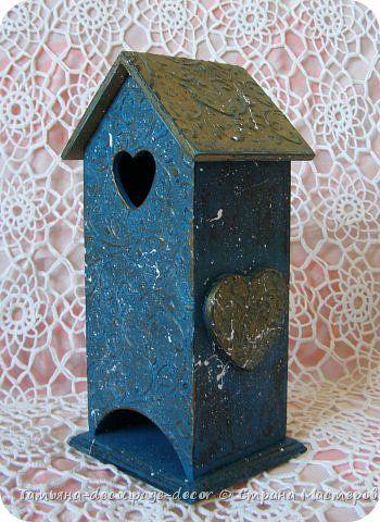 Декор предметов Декупаж Чайный домик Бирюзовый узор Дерево Краска фото 2