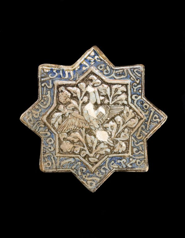 Tile  14th century      Il-Khanid period     Stone-paste painted under clear glaze   Sultanabad, Iran