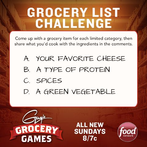 Before the premiere of Guy's Grocery Games tomorrow at 8|7c, play a grocery list challenge!Games Tomorrow, Food Network, Grocery Games, Rocks Stars, Guys Grocery, Idease Food Class, Lists Challenges, Grocery Lists, Schools Idease Food