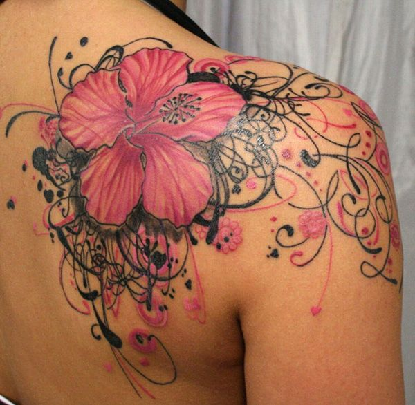 55 Awesome Shoulder Tattoos | not a fan of all the swirls, but the flower is gorg