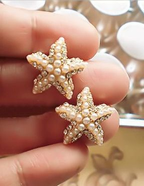 Crystal & Pearl Starfish Earrings ♡