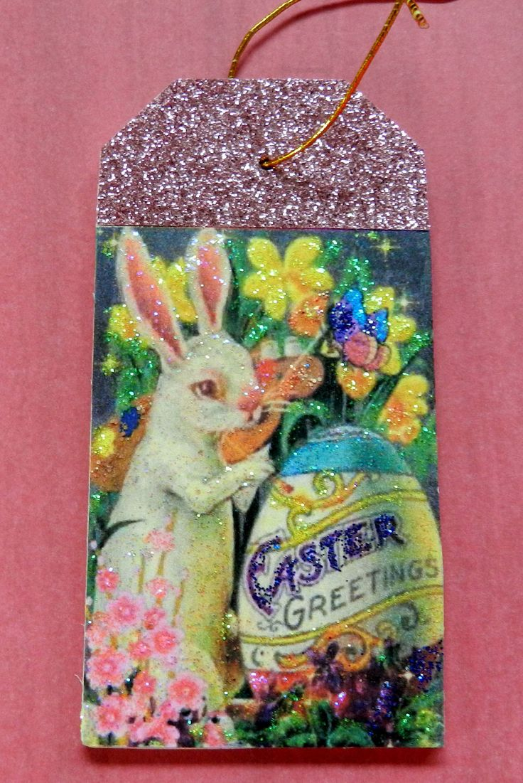 284 best glitter wood ornaments gift tags images on pinterest easter gift tag easter tree ornament vintage easter rabbit image easter gift negle Images