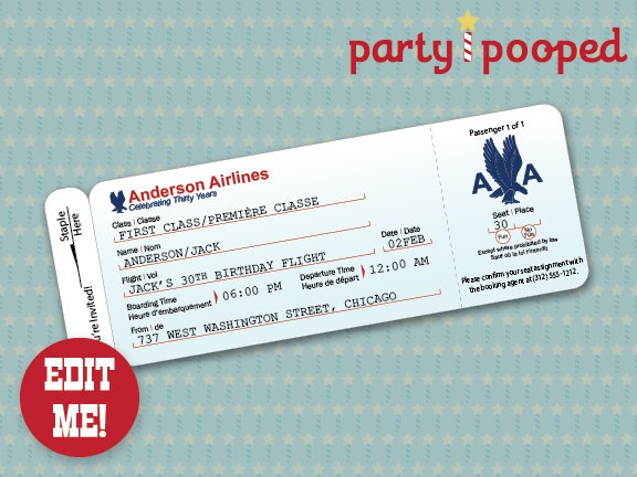 Airplane Party Airline Ticket Invitation Airline Ticket Invite – Airplane Ticket Invitations