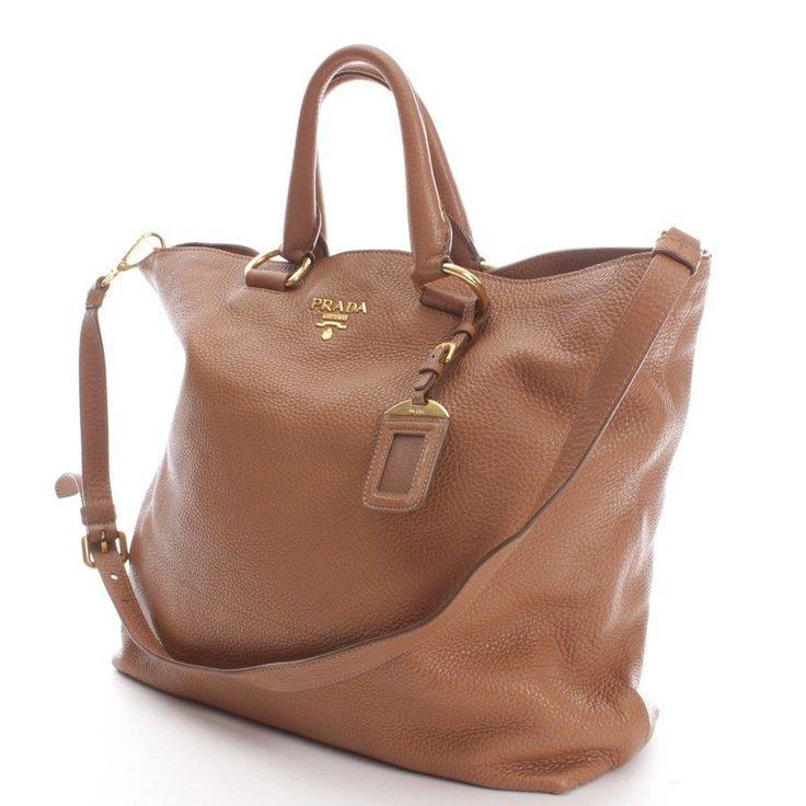 PRADA Shopper Cognac Damen  Schultertasche Tote Bag Leder Leather Braun Beige
