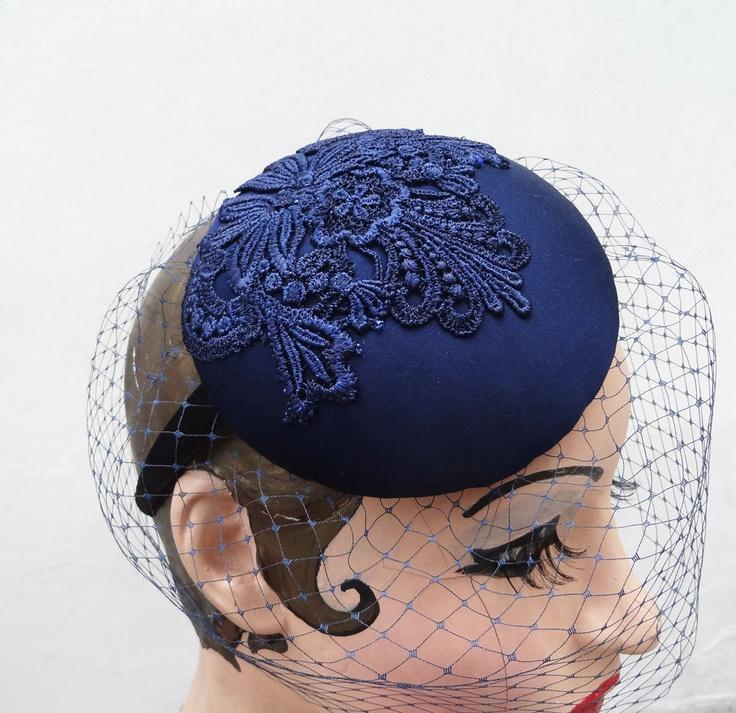 Navy Blue Birdcage Veil Cocktail Hat Silk by BatcakesCouture