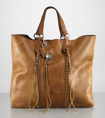 Ralph Lauren Collection Leather Laced Tote - Now this can hold an iPad!