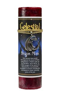 Dragon Moon pillar candle with Ritual Necklace