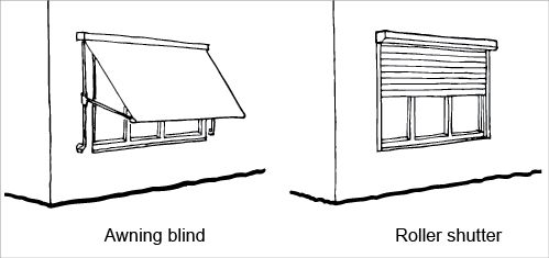 SHADING An adjustable awning screens one window. A roller