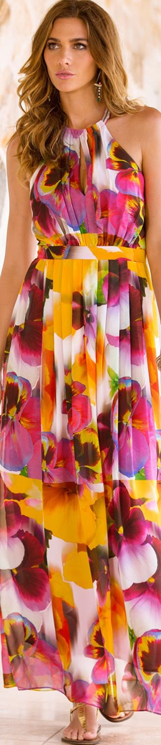 Boston Proper Floral High Neck Gown