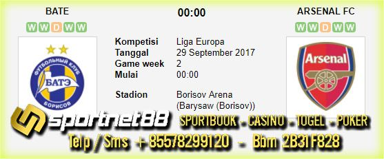 Prediksi Skor Bola Bate vs Arsenal 29 Sep 2017 Liga Eropa di Borisov Arena (Barysaw (Borisov)) pada hari Jumat jam 00:00 live di beIn Sport 1 / SCTV