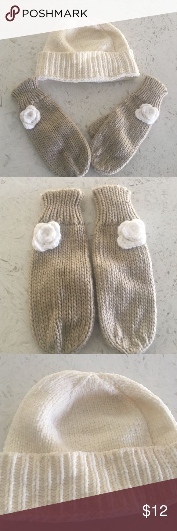 Tan and Beige Mittens and Beanie Soft beanie and new never worn mittens. Accessories Gloves & Mittens