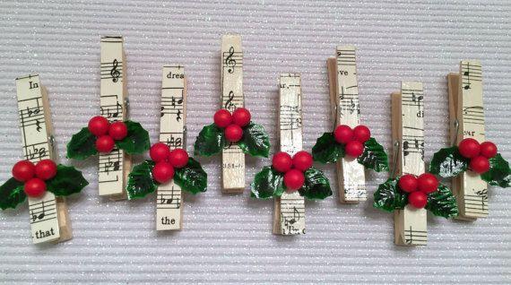 Ornés de pinces à linge, Noël bannière de Pins, feuilles de musique et Holly, Scrapbooking, cartes, étiquettes, guirlande de sapin de broches, aimants BRICOLAGE,