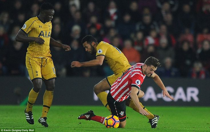 Dembele had more success in stopping Jay Rodriguez in his tracks as the Southampton forward took a tumble