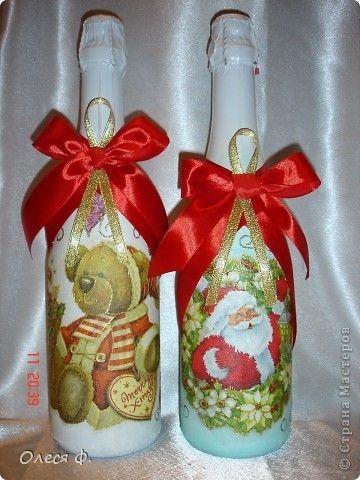 Декор предметов Декупаж: Вот и я их сделала!!!! Бутылки стеклянные, Ленты, Салфетки Новый год. Фото 1