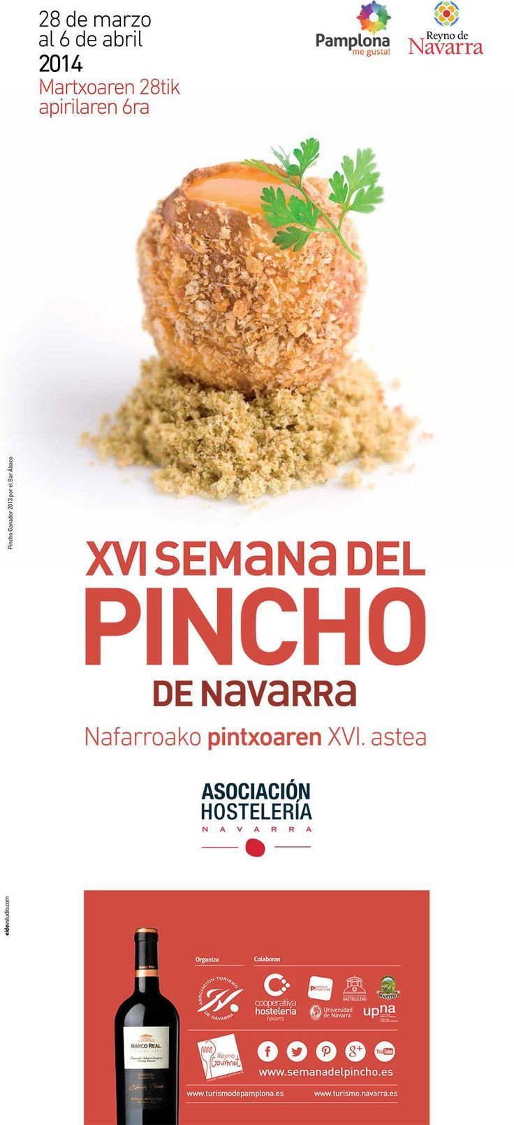 ¡Una semana irresistible! No te pierdas la semana del pincho que comienza este viernes  Ez galdu Pintxoaren Astea, ostiral honetatik aurrera. Ezingo diozu eutsi!  Une semaine délicieux! Ne ratez surtout pas la Semaine du Pincho de Navarre. Du 28 Mars au 6 Avril  A delicious week! Don't miss the Navarra Pinchos Week. March 28th to April 6th #pamplona #turismo #gastronomía #food #foodie #travel #traveling #gastronomytravel #gastronomie