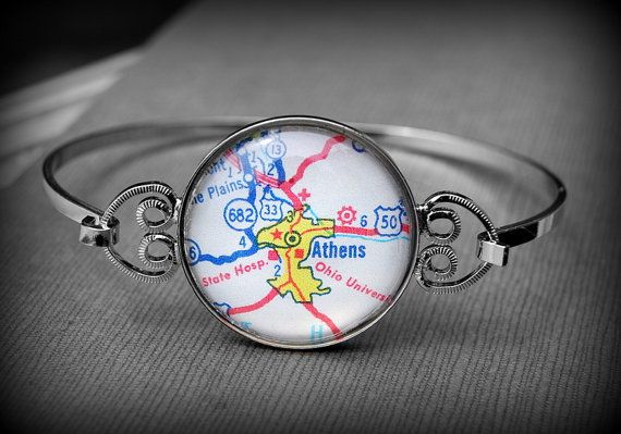 Athens Ohio University Bracelet Bangle by DaisyMaeDesignsShop, $30.00
