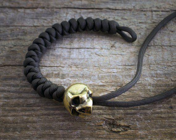 Paracord Beads Paracord Skull Beads Of Bronze Big Heavy Etsy