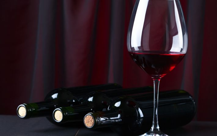 Download wallpapers red wine, glasses of wine, wine cellar, bottles of wine