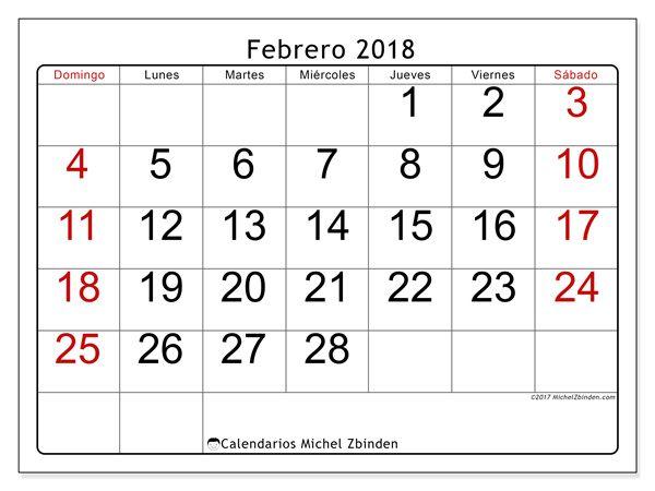 calendario febrero 2018 para imprimir