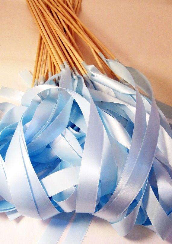 Satin Wedding Ribbon Wands - Custom Colors - Pack of 50 - Shown in Light Blue Cinderella Wedding