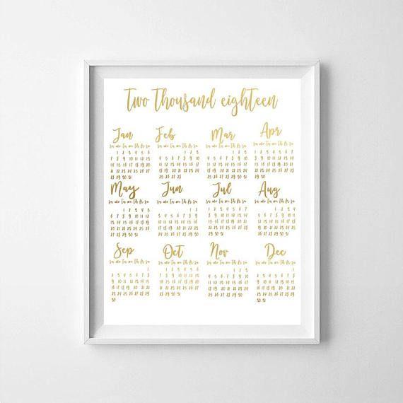 Gold calendar Printable Calendar 2018 gold printable