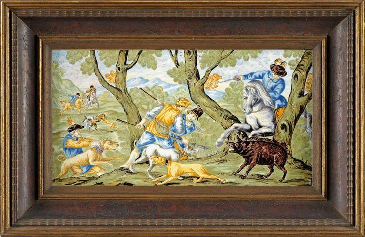 Bildplatte Castelli 18. Jhdt. Wildschweinjagd. 18 x 33,5 cm — Porzellan
