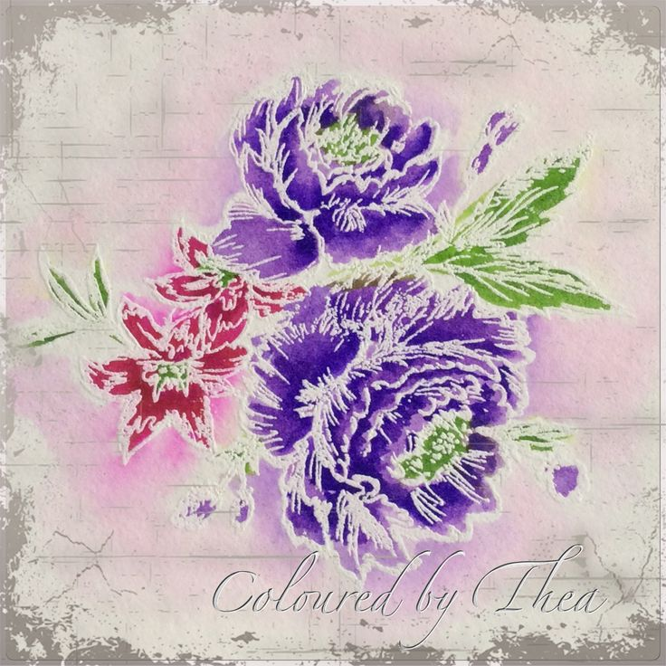 Coloured an embost flower...