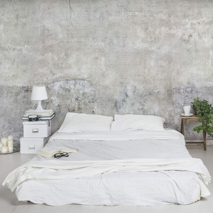 """Industrial Style"" – bedroom – concrete wallpaper"