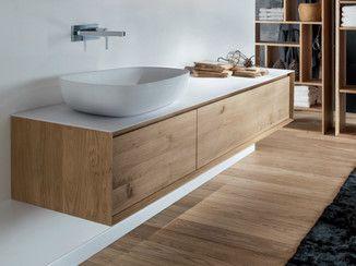 mueble bajo lavabo suspendido de madera con cajones shape evo mueble bajo lavabo de madera