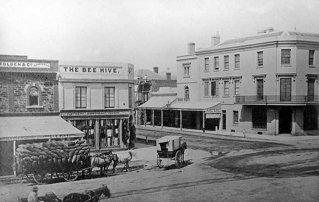 Beehive Corner, Cnr King William & Rundle Streets, 1866 B 2098 Photographer: Francis Gabriel Summary Corner of Rundle Street and King William Street, Adelaide. A three horse team and laden waggon is standing outside J.A. Holden, Saddlers. [This business is the forerunner to General Motors Holden.] In the centre of the view, a man on a scaffold is engaged in building work. On the ground floor of the Bee Hive corner is I. Simmons & Co., Clothiers. Opposite, on the right, is Waterhouse Cha