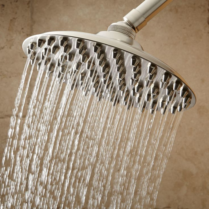 "10"" Bostonian Rainfall Nozzle Shower Head - 19"" Extended Arm - Brushed Nickel"
