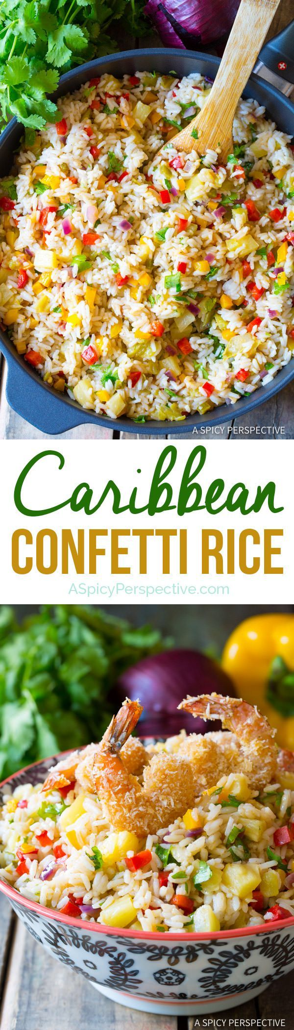 Fragrant Caribbean Confetti Rice Recipe | http://ASpicyPerspective.com
