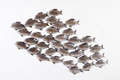 Dipamkar®Large Home Decor Aged Grey Metal School of Fish in Swim Sculpture Garden Metal Wall Art 90 x 50cm: Amazon.co.uk: Kitchen & Home