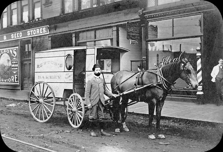 """Granville and Robson, ca. 1900. A horse-drawn delivery wagon from Hewton's Bakery at """"Nelson's Corner,"""" the southwest corner of Granville Street at Robson.  Source: City of Vancouver Archives #Str P229"""