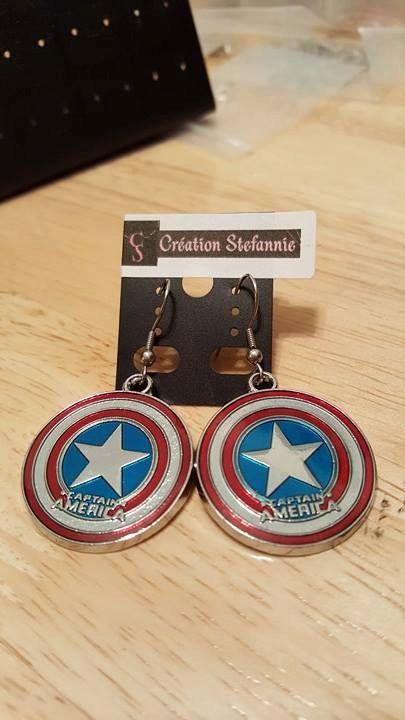 Necklace/Earring Captain America superhero Collier/Boucles
