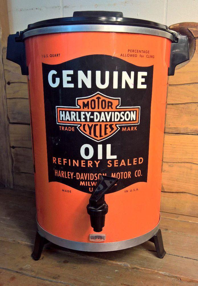 VINTAGE 1987 HARLEY DAVIDSON OIL CAN WEST BEND COFFEE MAKER 12-30 CUPS. Complete #WestBend