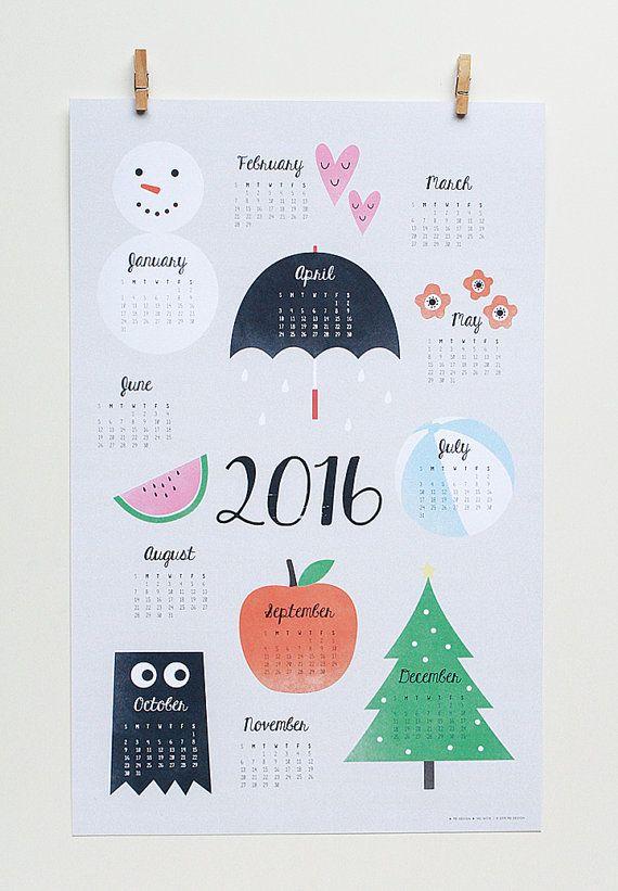 2016 Wall Calendar Art Print. Wall Calendar. par PeiDesign sur Etsy