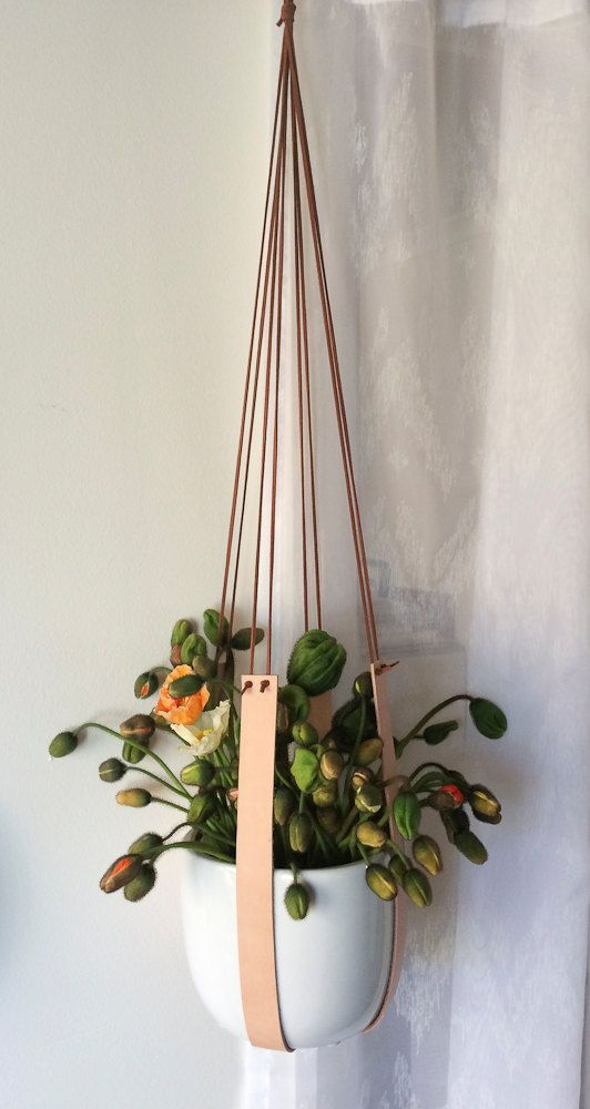 Leather and ceramic plant hanger by KindaLovely on Etsy