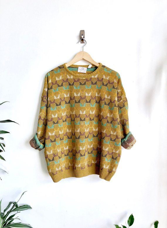 a766052fe6919 Mustard Chartreuse Italian Knit Pullover   Vintage Knit Sweater ...