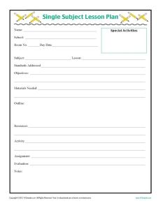daily five lesson plan template - daily single subject lesson plan template elementary