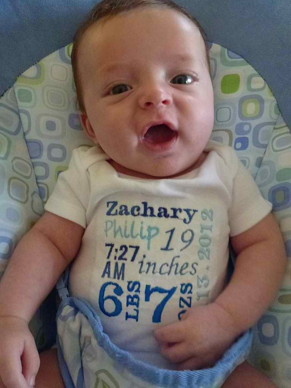 birth announcement onesie embroidered subway by donnagramming, $17.00