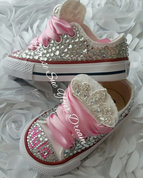 419674e15d76 Swarovski Crystal Design Princess Converse Shoes - Bling Shoes - Princess Converse  Shoes - Flower Girl Shoes - First Birthday Shoes