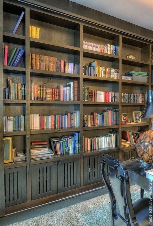 шкаф библиотека, шкаф книжный на заказ по индивидуальным размерам из дерева покрытие масло и воск
