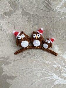 Double Treble Trinkets Christmas owls free crochet pattern