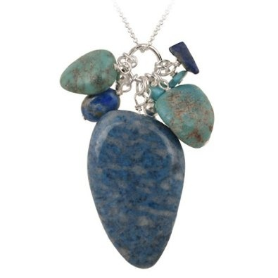 Sterling Silver Denim Lapis & Created Turquoise Nuggets w/ Cluster Fashion Pendant: Jewelry: Amazon.com