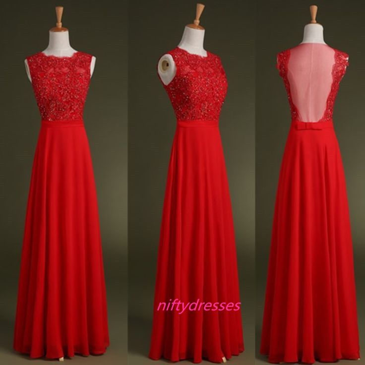 Red Long Evening Prom Dresses