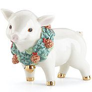 852402-Holiday Wreath Pig Figurine