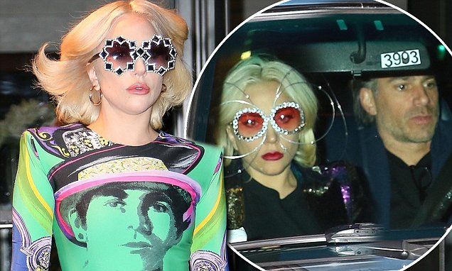 Lady Gaga steps out in a colorful Versace ensemble | Daily Mail Online