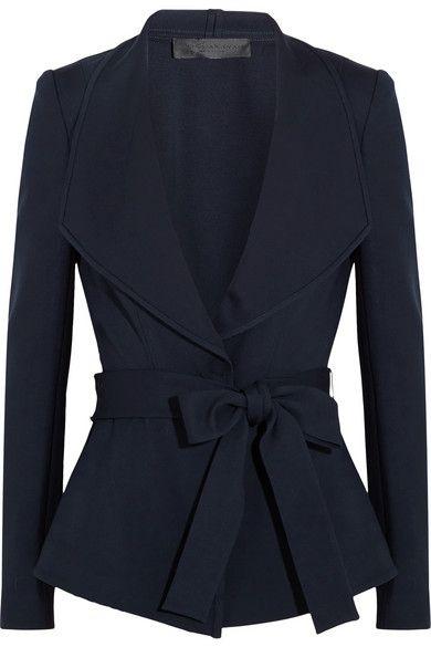 Donna Karan New York Belted Crepe Jacket in Navy, $2,146 | NET-A-PORTER.COM